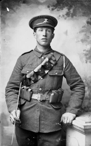 Soldier from the Welsh Regiment wearing a leather bandolier
