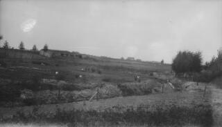 Farmland with concrete fortifications visible in the middle distance. The same pillbox appears in other photos but from closer quarters.